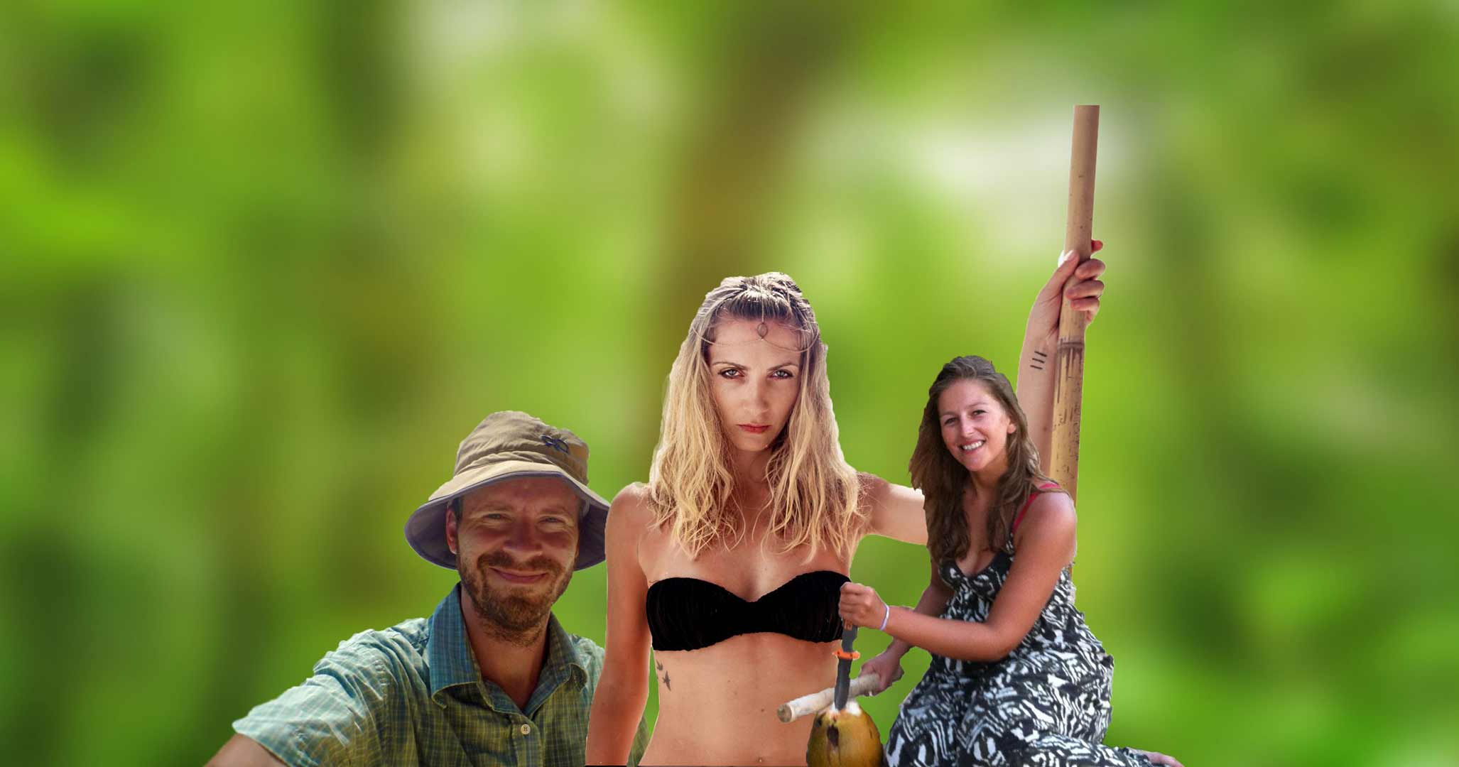Three of our clients posing in front of the jungle